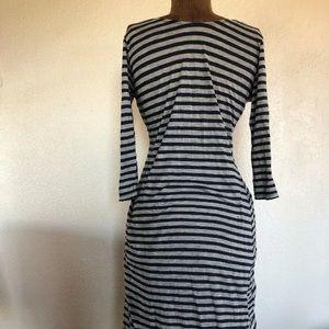 Velvet by Graham Spencer S stripe long dress gray